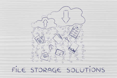 fie storage solutions: clouds with up and down transfer arrows, different types  of documents and binary code rain Stock Photo