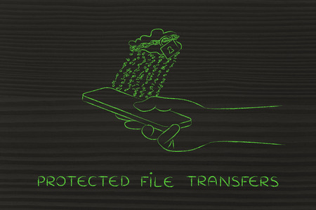 locked up: protected file transfers: locked up cloud with binary code rain above smartphone Stock Photo