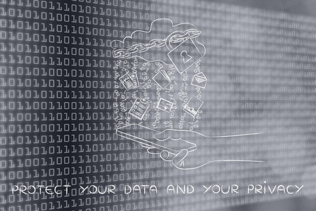 protected your data and your privacy: locked up cloud with different types of documents and binary code rain above a smartphone