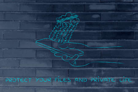 private cloud: protect your files and private life: locked up cloud with binary code rain above smartphone Stock Photo