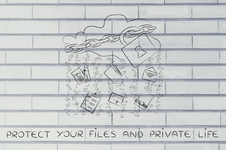 binary file: protect your files and private life: locked up cloud with different types of documents and binary code rain Stock Photo