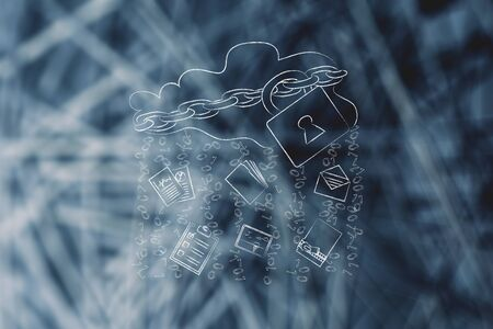 locked up cloud with up and down transfer arrows, different types  of documents and binary code rain