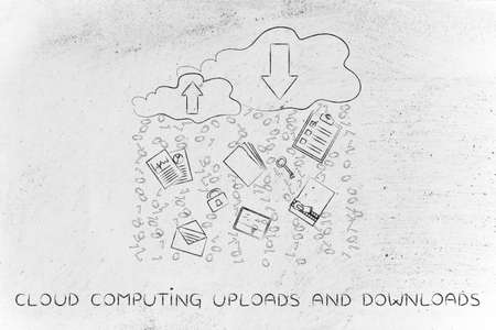 cloud computing uploads & downloads: clouds with up and down transfer arrows, different types  of documents and binary code rain