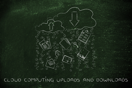 binary file: cloud computing uploads & downloads: clouds with up and down transfer arrows, different types  of documents and binary code rain
