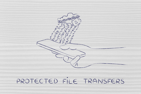 binary file: protected file transfers: locked up cloud with binary code rain above smartphone Stock Photo