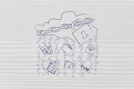 locked up: locked up cloud with different types of documents and binary code rain Stock Photo