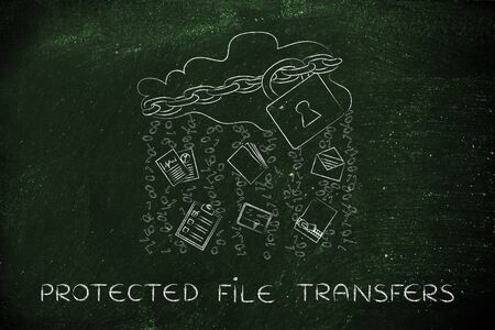 locked up: protected file transfers: locked up cloud with different types of documents and binary code rain Stock Photo