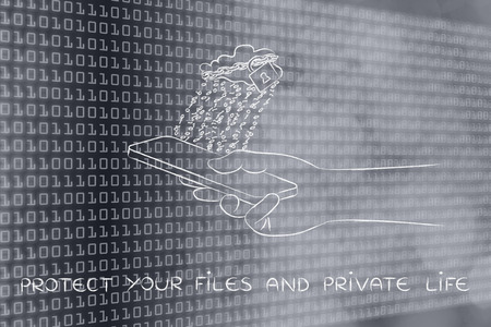 locked up: protect your files and private life: locked up cloud with binary code rain above smartphone Stock Photo