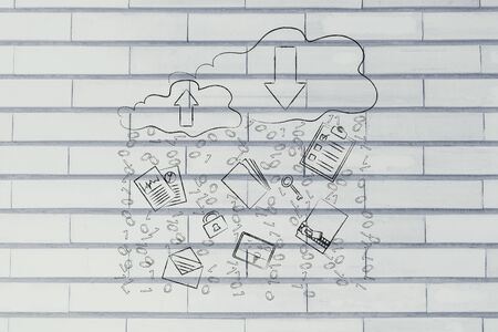 clouds with up and down transfer arrows, different types  of documents and binary code rain
