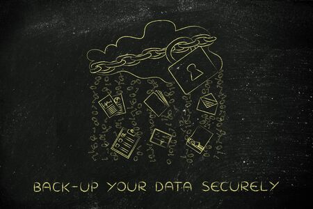 back-up your data securely: locked up cloud with different types of documents and binary code rain Stock Photo