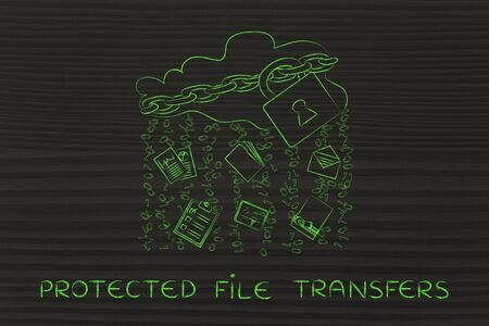 transfers: protected file transfers: locked up cloud with different types of documents and binary code rain Stock Photo