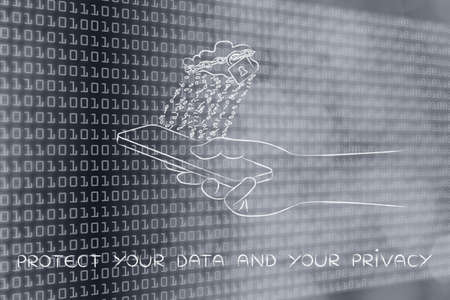 locked up: protect your data and your prvacy: locked up cloud with binary code rain above smartphone Stock Photo
