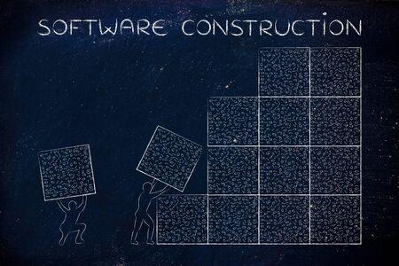 binary file: software construction: men lifting blocks with messy binary code, metaphor illustration Stock Photo
