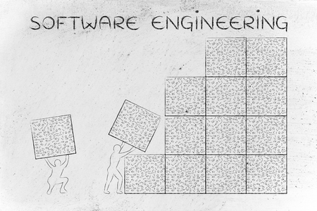 binary file: software engineering: men lifting blocks with messy binary code, metaphor illustration Stock Photo