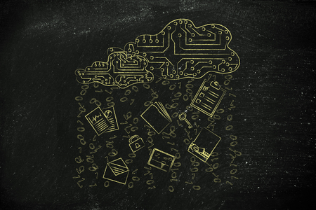 remote server: electronic circuit clouds with documents, folders and binary code rain Stock Photo
