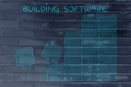 debug: building software: men lifting blocks with lines of binary code, metaphor illustration