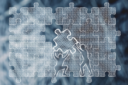 debug: men lifting piece of jigsaw puzzle with lines of binary code to fill a gap, metaphor illustration about software development and fixing bugs