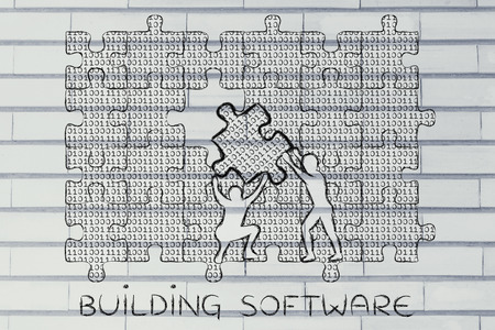 binary file: building software: men lifting piece of jigsaw puzzle with lines of binary code to fill a gap, metaphor illustration about software development and fixing bugs