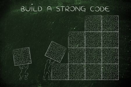 debug: building a strong code: men lifting blocks with messy binary code, metaphor illustration Stock Photo