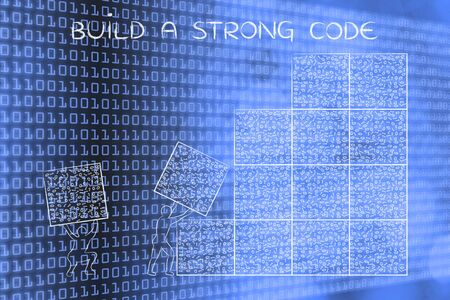 troubleshoot: building a strong code: men lifting blocks with messy binary code, metaphor illustration Stock Photo