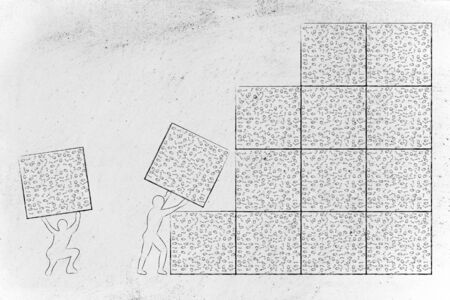 binary file: men lifting blocks with messy binary code, metaphor illustration about software development and archtecture
