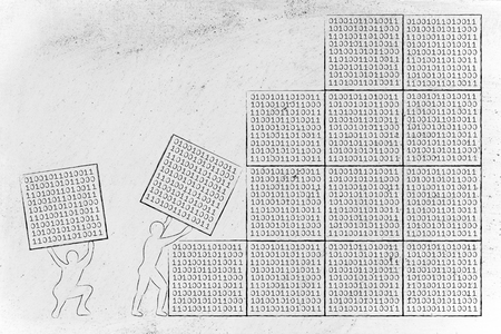 binary file: men lifting blocks with binary code, metaphor illustration about software development and archtecture Stock Photo