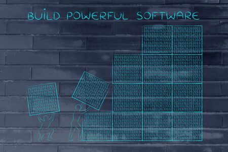 binary file: building powerful software: men lifting blocks with lines of binary code, metaphor illustration Stock Photo