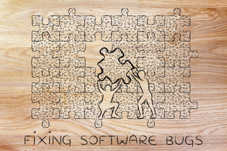 binary file: fixing software bugs: men lifting piece of jigsaw puzzle with messy binary code to fill a gap, metaphor illustration about software development and fixing bugs Stock Photo