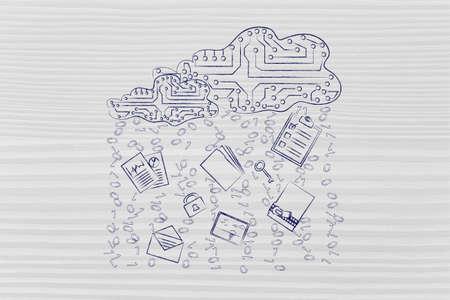 binary file: electronic circuit clouds with documents, folders and binary code rain Stock Photo