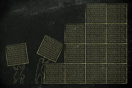 archtecture: men lifting blocks with binary code, metaphor illustration about software development and archtecture Stock Photo