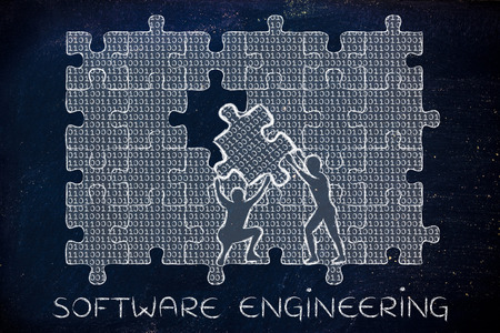 troubleshoot: software engineering: men lifting piece of jigsaw puzzle with binary code to fill a gap, metaphor illustration about software development and fixing bugs