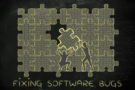 troubleshoot: fixing software bugs: men lifting piece of jigsaw puzzle with lines of binary code to fill a gap, metaphor illustration about software development and fixing bugs
