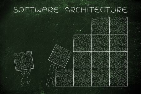 binary file: software architecture: men lifting blocks with messy binary code, metaphor illustration Stock Photo