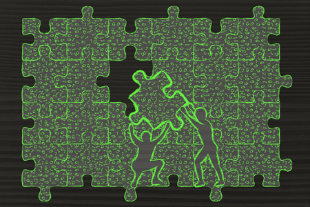 binary file: men lifting piece of jigsaw puzzle with messy binary code to fill a gap, metaphor illustration about software development and fixing bugs