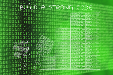 binary file: building a strong code: men lifting blocks with lines of binary code, metaphor illustration