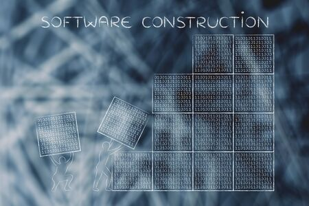 troubleshoot: software construction: men lifting blocks with lines of binary code, metaphor illustration Stock Photo