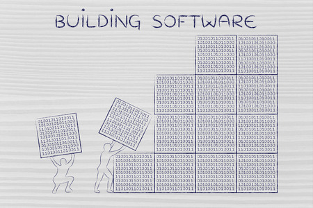 troubleshoot: building software: men lifting blocks with lines of binary code, metaphor illustration