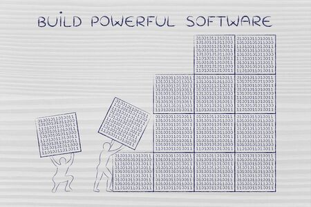 troubleshoot: building powerful software: men lifting blocks with lines of binary code, metaphor illustration Stock Photo