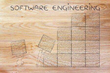 troubleshoot: software engineering: men lifting blocks with messy binary code, metaphor illustration Stock Photo