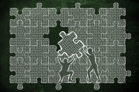 troubleshoot: men lifting piece of jigsaw puzzle with lines of binary code to fill a gap, metaphor illustration about software development and fixing bugs