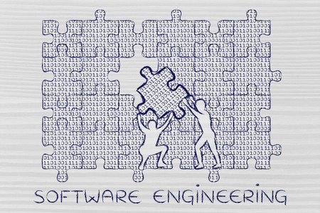 binary file: software engineering: men lifting piece of jigsaw puzzle with binary code to fill a gap, metaphor illustration about software development and fixing bugs