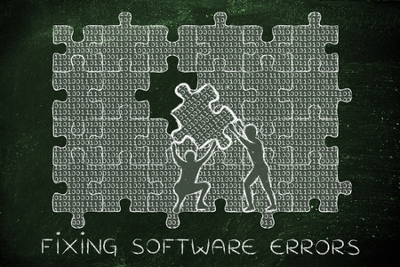 errors: fixing software errors: men lifting piece of jigsaw puzzle with lines of binary code to fill a gap, metaphor illustration about software development and fixing bugs Stock Photo