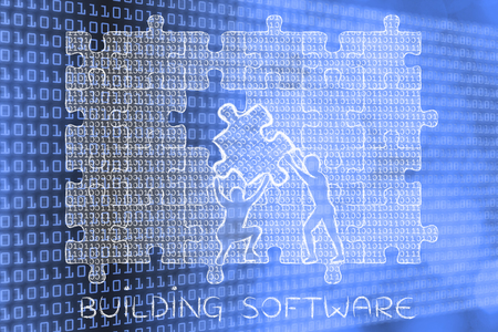 troubleshoot: building software: men lifting piece of jigsaw puzzle with lines of binary code to fill a gap, metaphor illustration about software development and fixing bugs