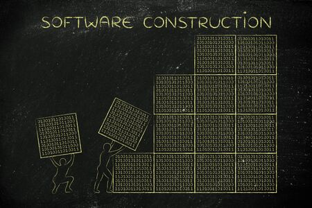 binary file: software construction: men lifting blocks with lines of binary code, metaphor illustration Stock Photo