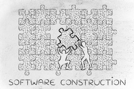 troubleshoot: software construction: men lifting piece of jigsaw puzzle with messy binary code to fill a gap, metaphor illustration about software development and fixing bugs