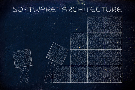 troubleshoot: software architecture: men lifting blocks with messy binary code, metaphor illustration Stock Photo