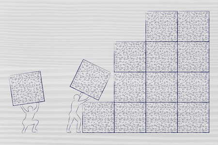 archtecture: men lifting blocks with messy binary code, metaphor illustration about software development and archtecture