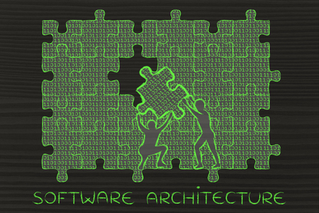 troubleshoot: software architecture: men lifting piece of jigsaw puzzle with binary code to fill a gap, metaphor illustration about software development and fixing bugs Stock Photo