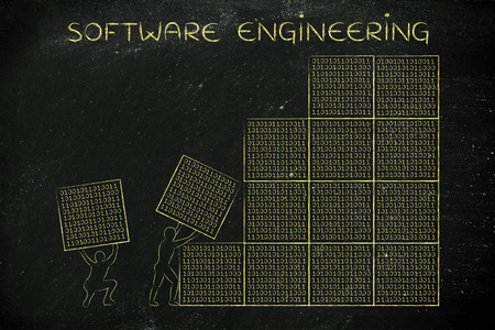 troubleshoot: software engineering: men lifting blocks with lines of binary code, metaphor illustration Stock Photo