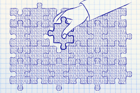 troubleshoot: hand inserting missing piece of jigsaw puzzle with lines of binary code to fill a gap, metaphor illustration about software development and fixing bugs